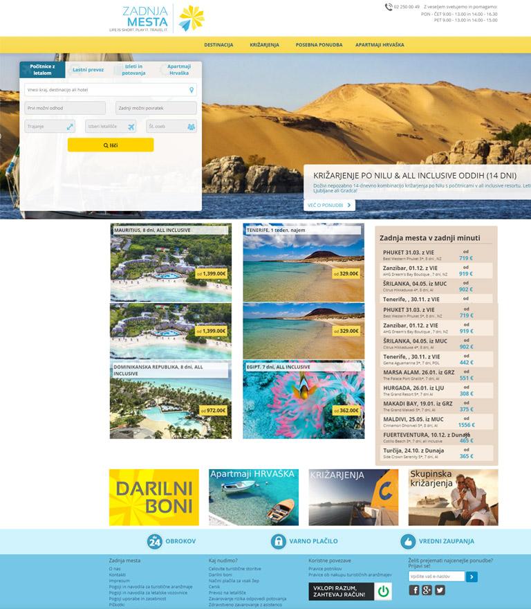 Izdelava spletnega portala za turistično agencijo Zadnja mesta